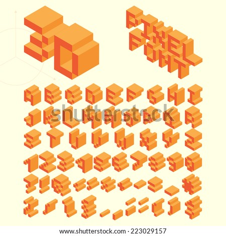 Orange Isometric Pixel Font, Vector Letters, Alphabet - stock vector