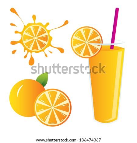 orange juice - stock vector