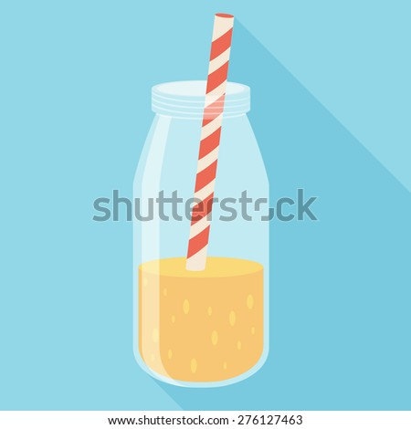 Orange juice in a bottle icon. Flat icon with long shadow. Vector illustration - stock vector