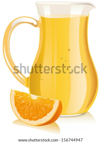 Orange juice in pitcher and orange slice. Vector illustration - stock vector