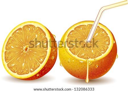Orange juice splashing isolated on white - stock vector
