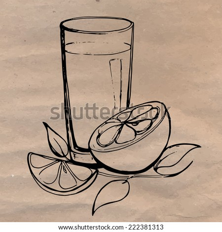 Orange juice with slices of orange and leaves hand drawn on the craft paper. Concept of healthy diet. - stock vector