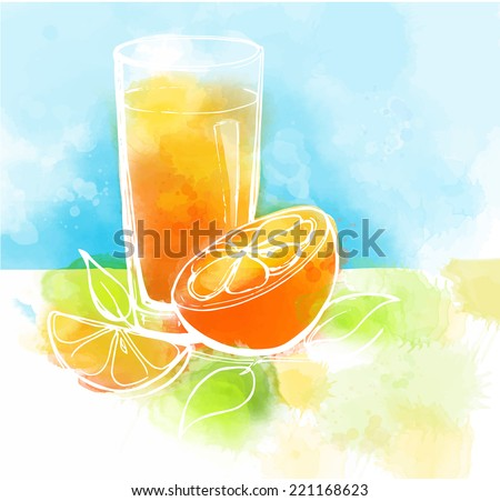 Orange juice with slices of orange and leaves. Watercolor painting. - stock vector