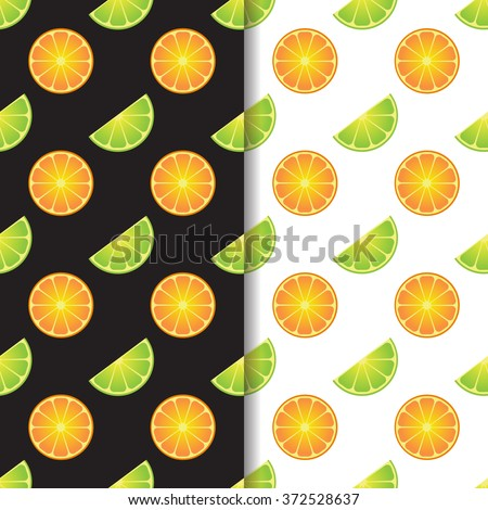 Orange lime vector seamless patterns set of two. Bright funny cocktail fruits pattern. Black and white patterns with citrus tropical fruits. Vector seamless pattern with oranges and limes. - stock vector