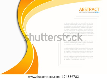 Orange line yellow background on white paper background for Text and message design - stock vector
