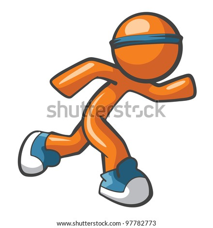 Orange Man running with blue shoes and headband, fast and agile. Sports and fast services concept, quite diverse. - stock vector