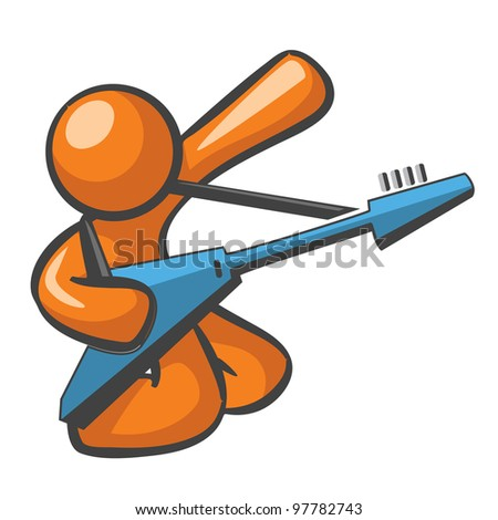 Orange Man with blue electric guitar, in a guitar solo hero pose. - stock vector