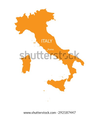 orange map of Italy - stock vector