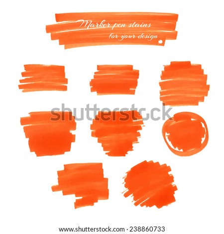 Orange marker pen spots and lines for your design. - stock vector