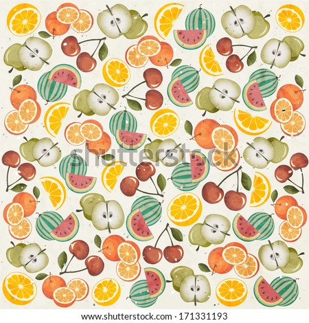 Orange, Melon, Apple, Cherry and Lemon illustrations. Fruits Pattern. Retro vintage style wallpaper with Fruits. - stock vector