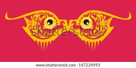 Orange monster eyes on a red background - a mask - stock vector