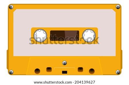 Orange music cassette with dirty blank label, old cassette tape, vector art image illustration, isolated on white background, eps10  - stock vector