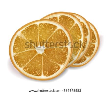 Orange of slices on white background. Isolated vector realistic orange - stock vector