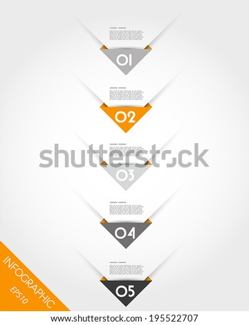 orange origami triangular corner timeline. infographic concept. - stock vector