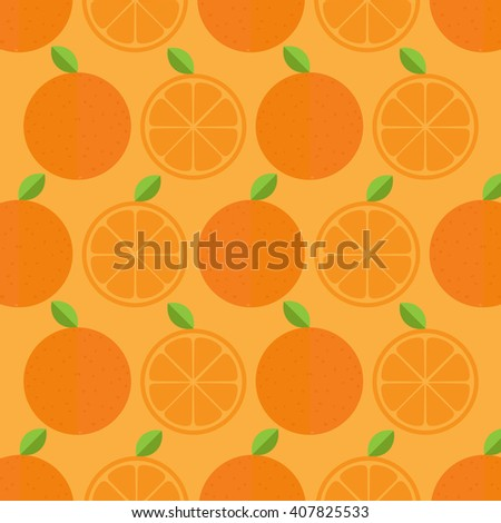 Orange pattern. Background. Vector illustration with half and entire orange. Sliced fruit. - stock vector