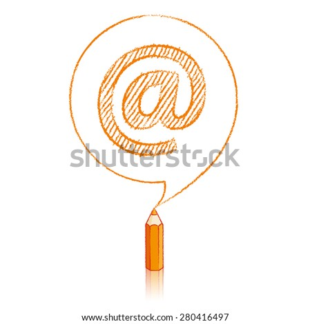 Orange Pencil with Reflection Drawing a shaded At sign in Round Speech Bubble on White Background - stock vector