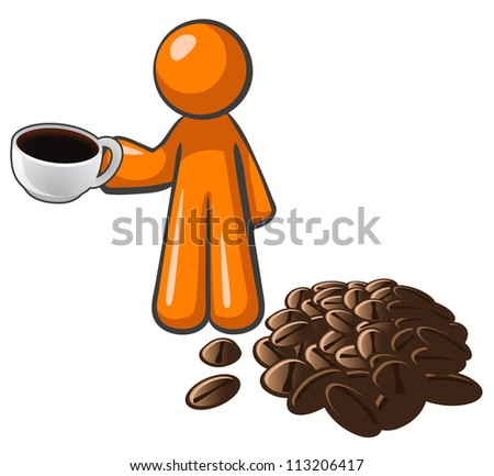 Orange person with coffee cup and coffee beans, depicting a quality roast. - stock vector