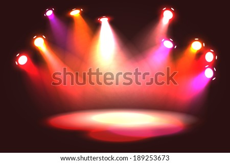 Orange, pink, violet and red spotlight projecting on empty stage - stock vector