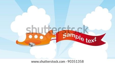 orange plane cartoon with advertising vector illustration - stock vector