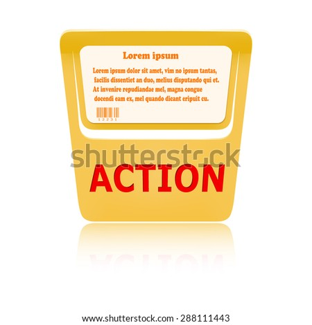 Orange price tag ACTION. Vector illustration - stock vector
