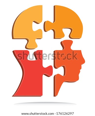Orange puzzle shaped human head. Abstract three dimensional vector design, raster available in my portfolio. - stock vector