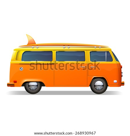 Orange retro bus with surf boards realistic isolated on white background vector illustration - stock vector
