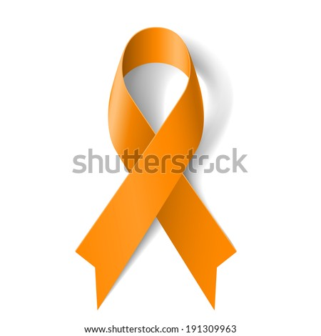 Orange ribbon as symbol of  Animal Abuse, leukemia awareness, kidney cancer association - stock vector