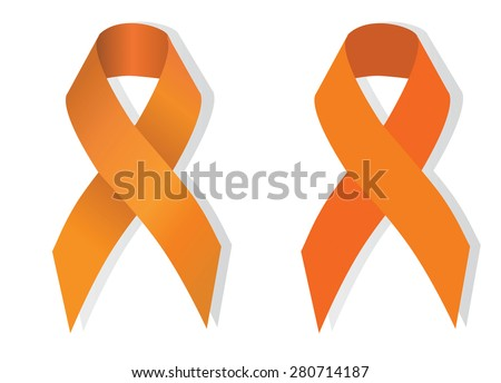 Orange ribbon symbolizing the problems christians killing, cruelty to animals, leukemia, multiple sclerosis, kidney cancer, attention deficit hyperactivity disorder, pain syndrome awareness - stock vector