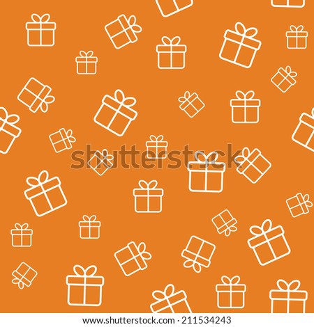 Orange seamless pattern with gift boxes - stock vector