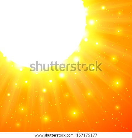 Orange shining vector sun with flares - stock vector