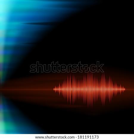 Orange shiny sound waveform with sharp peaks on polar lights background - stock vector