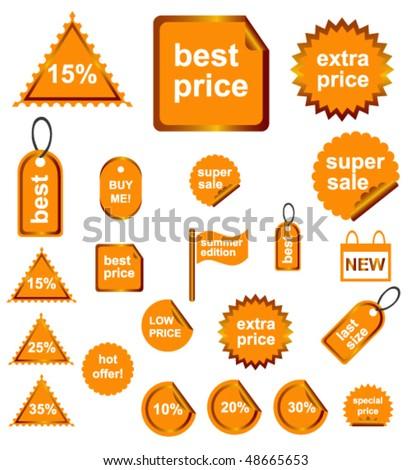 Orange Shopping Signs - stock vector