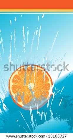 orange slice falling down - stock vector