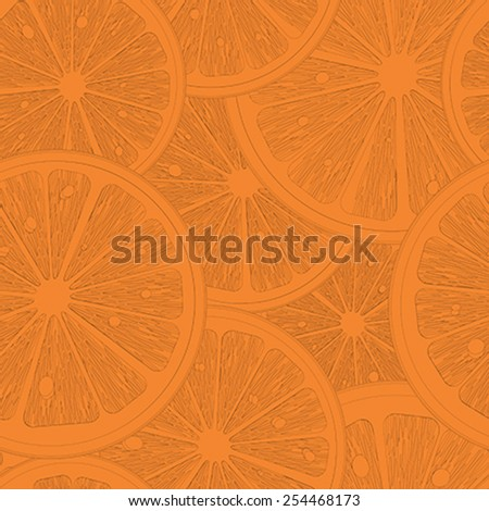 Orange slices seamless pattern sketch - stock vector