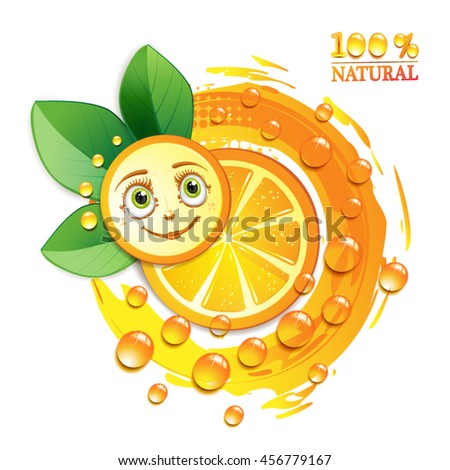 Orange slices with leafs and a smiley face - stock vector
