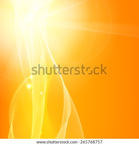 Orange smooth light lines background. Vector illustration. - stock vector