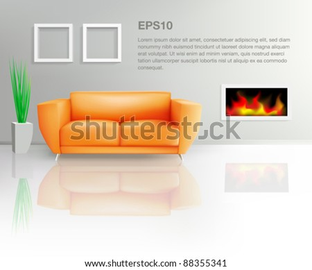 Orange Sofa and Fireplace (EPS10) - stock vector