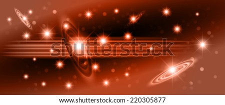 Orange sparkling background with stars in the sky and blurry lights, illustration. Abstract, Universe, Galaxies. - stock vector