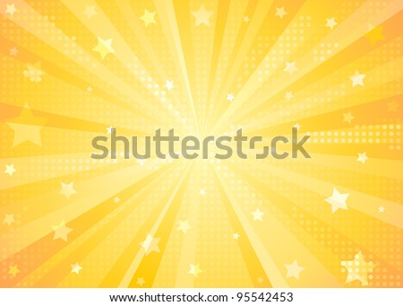 Orange Starburst Background - stock vector
