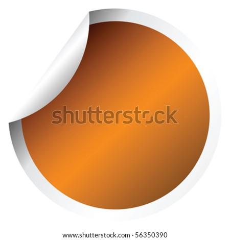 Orange sticker - stock vector