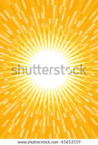 Orange summer sunburst. Vector background. - stock vector