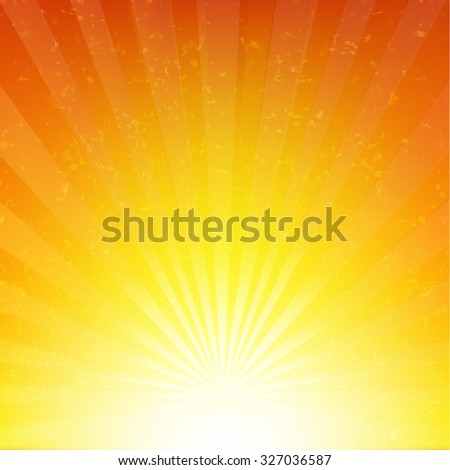 Orange Sunburst Background With Rays With Gradient Mesh, Vector Illustration - stock vector