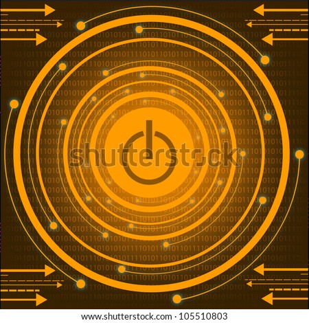 Orange Technology With Power Button. Jpeg Version Also Available In Gallery. - stock vector