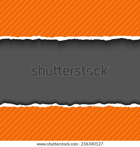 Orange textured torn paper strips with space for your text. Vector EPS10 illustration. Design elements - colored paper with ripped edges - stock vector