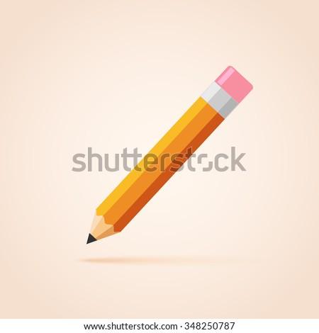 Orange thick pencil with eraser. - stock vector