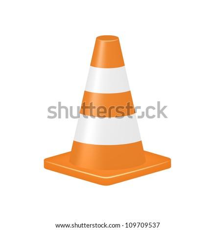 Orange traffic cone - stock vector