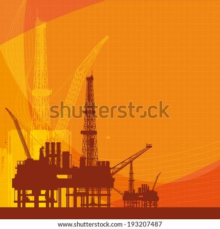 Orange vector background with oil platform - stock vector