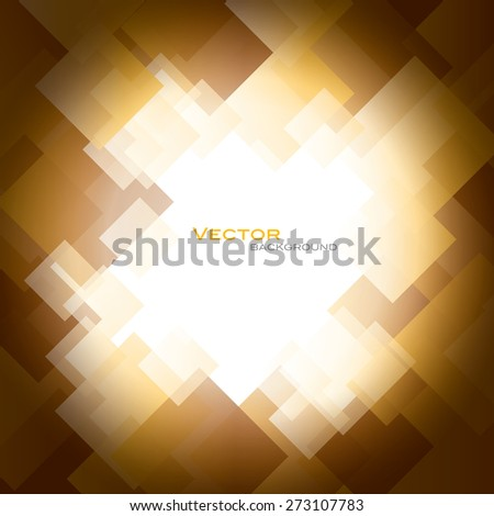 Orange Vector Background with Shiny Squares. - stock vector
