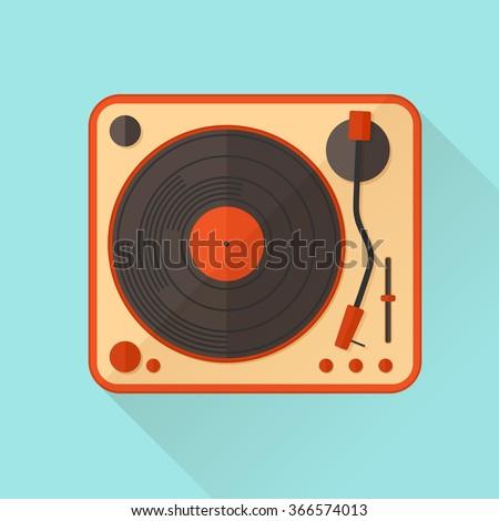 Orange vinyl turntable. Vector illustration. Flat style. - stock vector