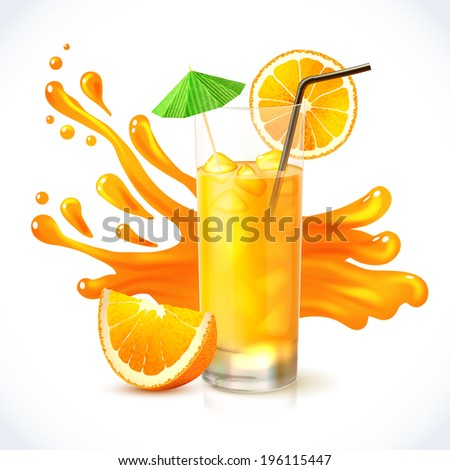 Orange vitamin juice in glass with straw and cocktail umbrella emblem vector illustration - stock vector
